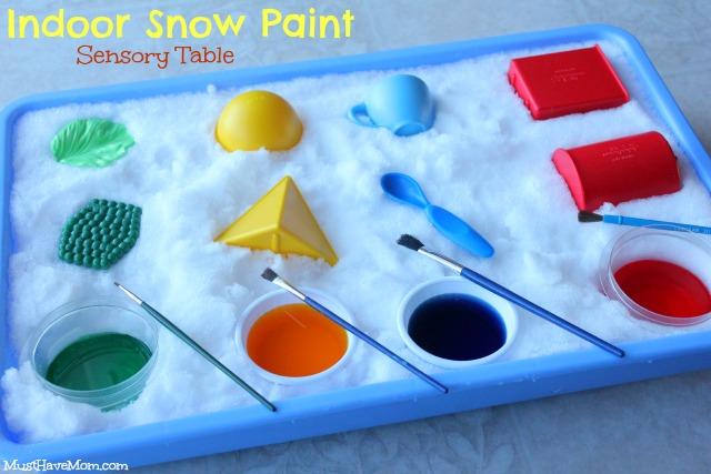 Indoor Snow Paint Sensory Table Teach colors & temperature