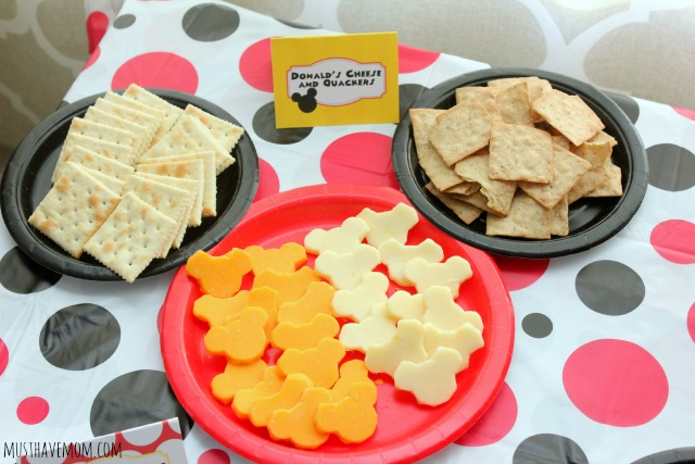 Mickey Mouse Party Food Ideas Donald's Cheese and Quackers!