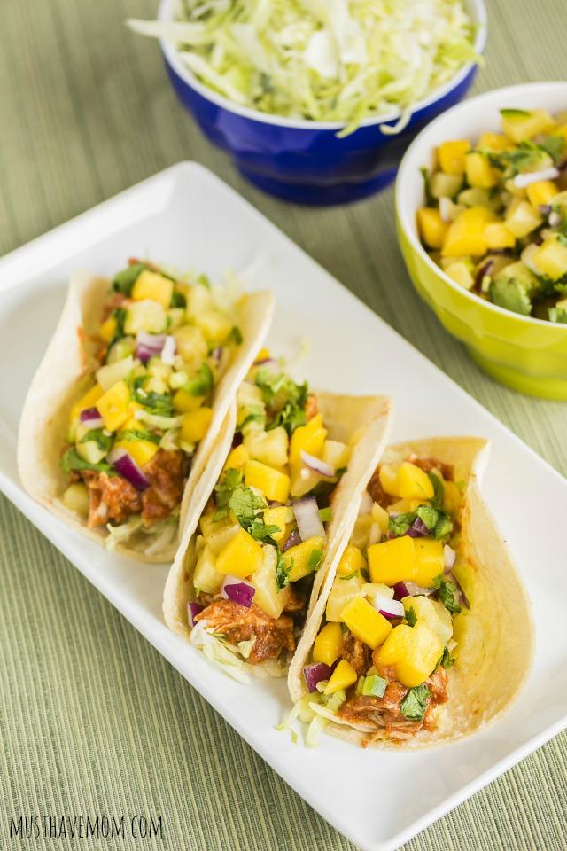 Slow Cooker Hawaiian Chicken Tacos & Pineapple Orange Salsa