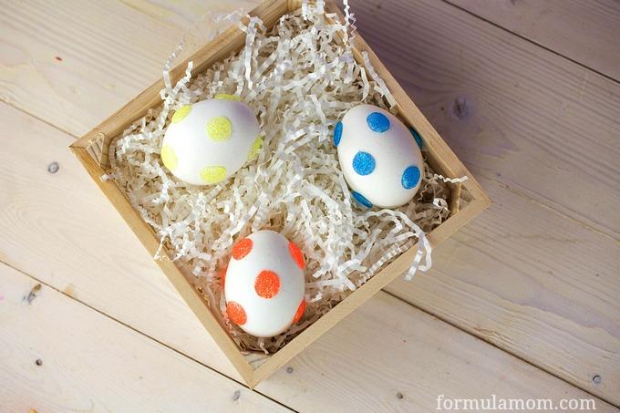 Glitter Polka Dot Easter Eggs DIY