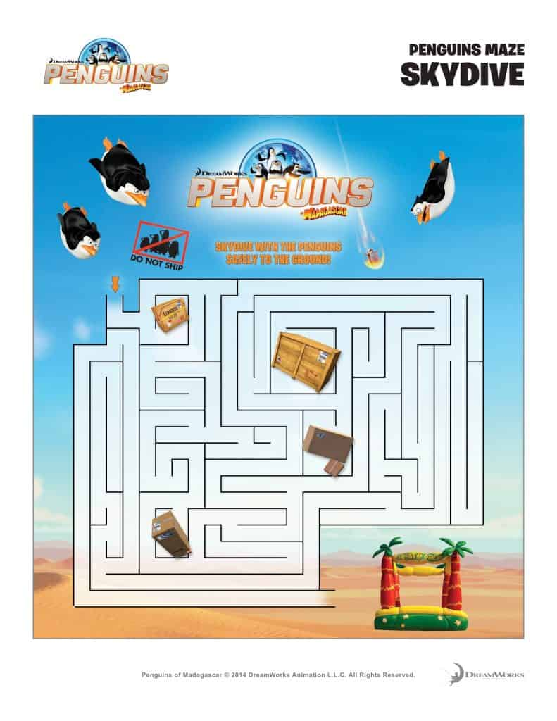 Free Penguins of Madagascar Printable Activity Sheets