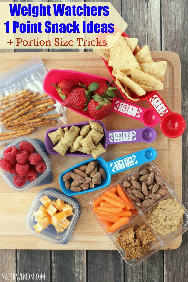 Weight Watchers 1 Point Snacks and Portion Size Tricks. Use these healthy snack ideas to stay on track with your diet and health goals.