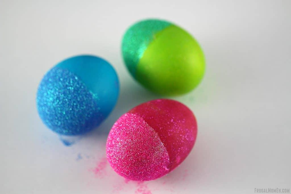 glitter dipped eggs