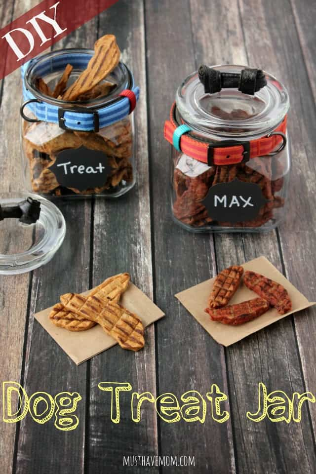 Easy DIY Dog Treat Jar! Love how easy this is and how adorable it turns out!