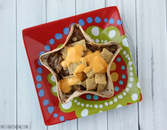 Fiesta Taco Bowls with cheese and corn chips