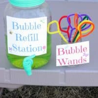 DIY Bubble Refill Station With Free Printable Signs & Homemade Bubble Recipe