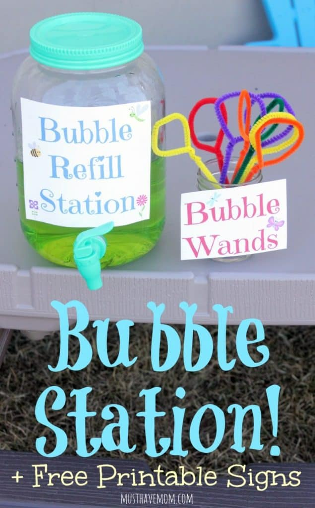 Kids Bubble Refill Station + Free Printable Bubble Station Signs!