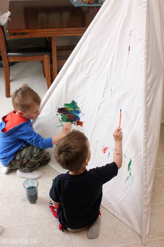 Painting on a teepee activity