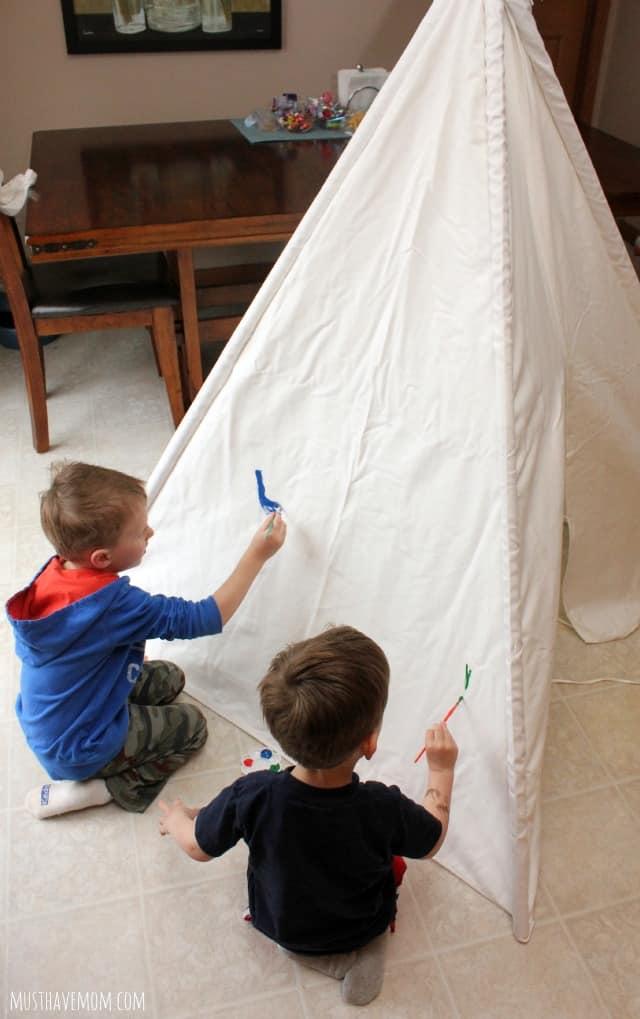 Rainy day play paint a teepee