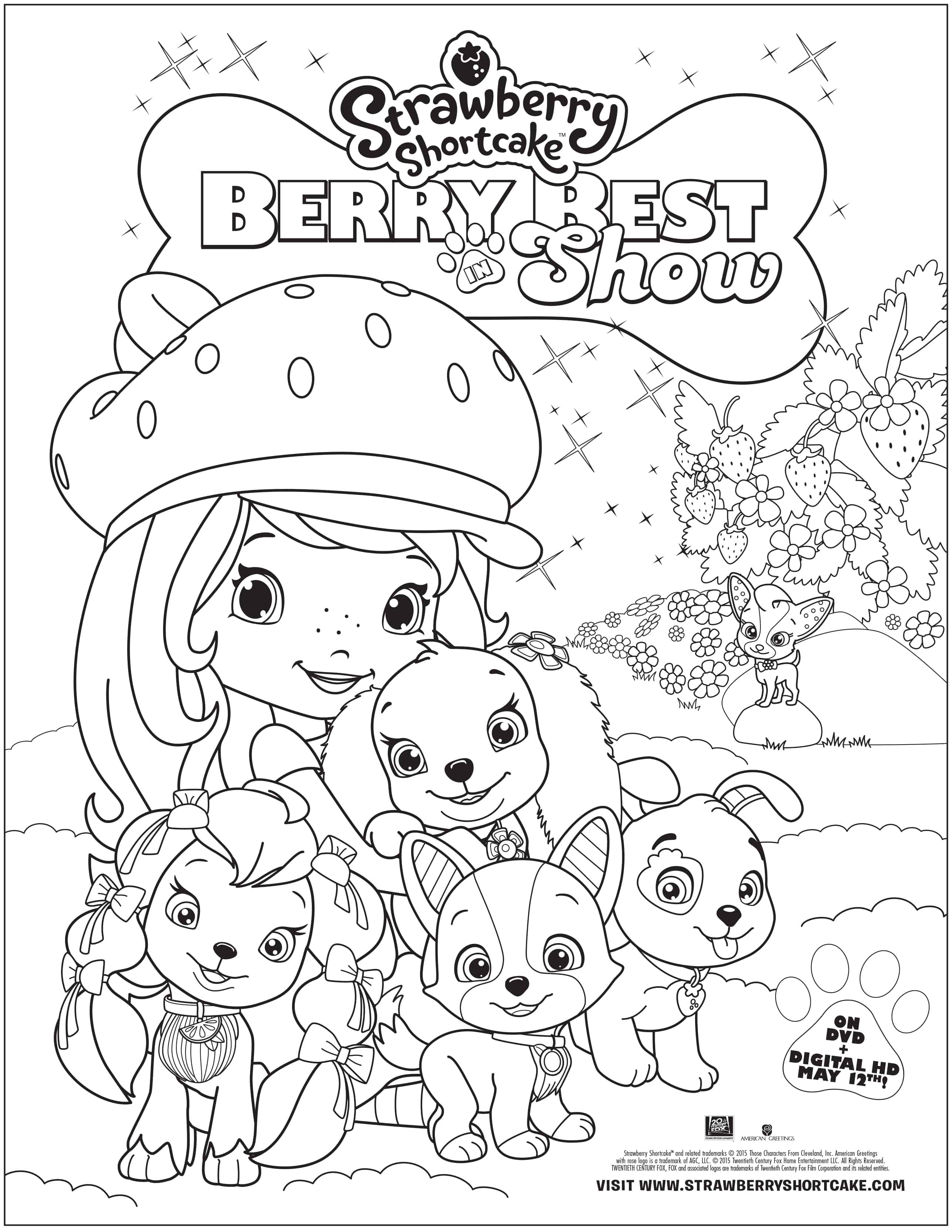 Strawberry shortcake berry best in show free printable for Coloring pages of strawberry shortcake and friends