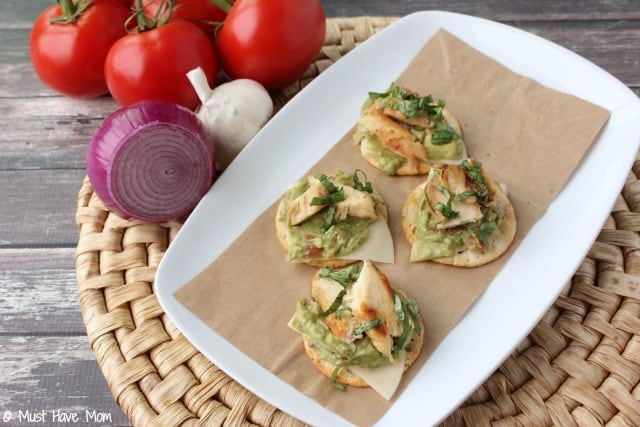 Gluten Free Chicken & Avocado Bruschetta Recipe. Great for a gluten free appetizer or gluten free snack idea. I make this when entertaining.