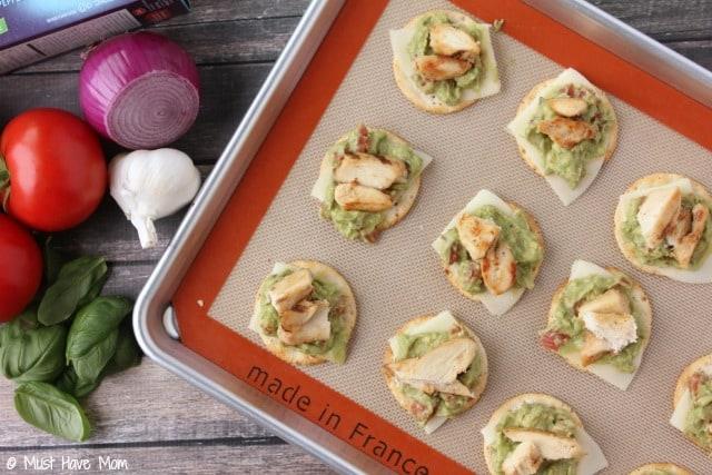 Gluten Free Chicken & Avocado Bruschetta Recipe. Great for a gluten free appetizer or gluten free snack idea. I make this when entertaining.