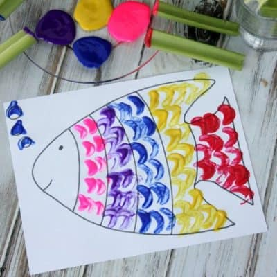 Rainbow Fish Celery Painting Activity + Free Printable Rainbow Fish!