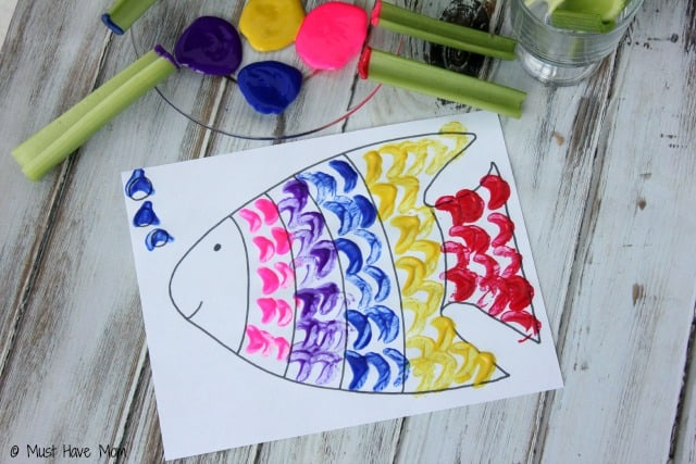 Rainbow Fish Celery Painting Activity With Free Printable Rainbow Fish!