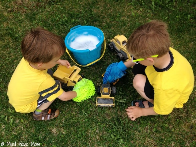 Playdate activity ideas: Create your own truck wash station