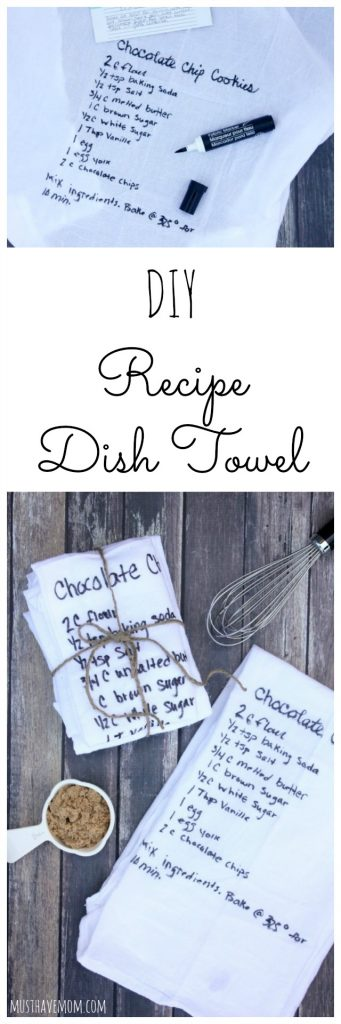 DIY Recipe Dish Towel that is a great gift idea, inexpensive Mother's Day gift idea or keepsake!