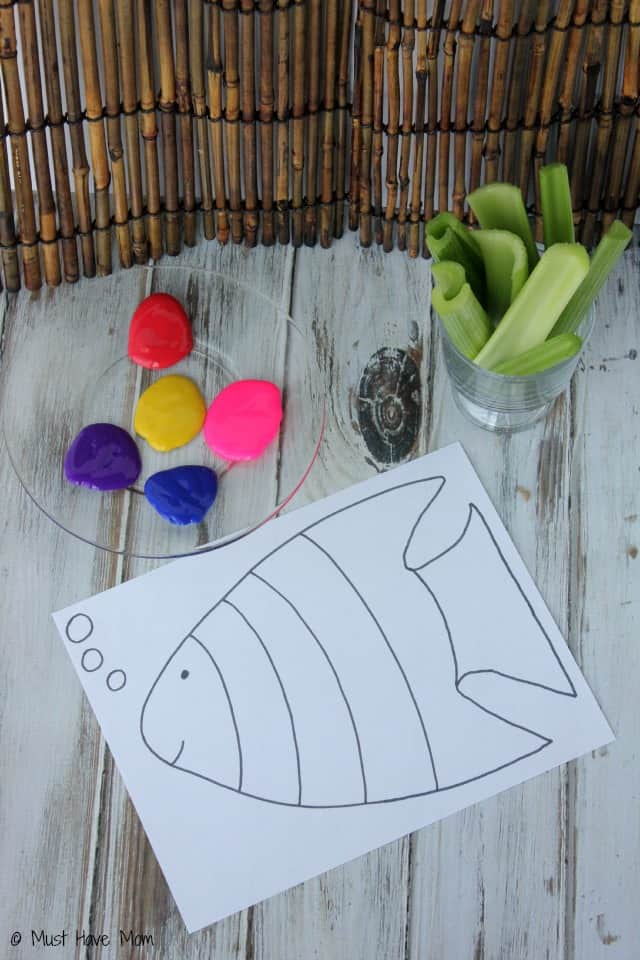 Rainbow Fish Celery Painting Activity With Free Printable Rainbow Fish!