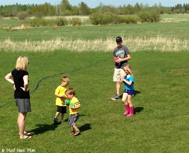 Kids bocce ball playdate activity idea