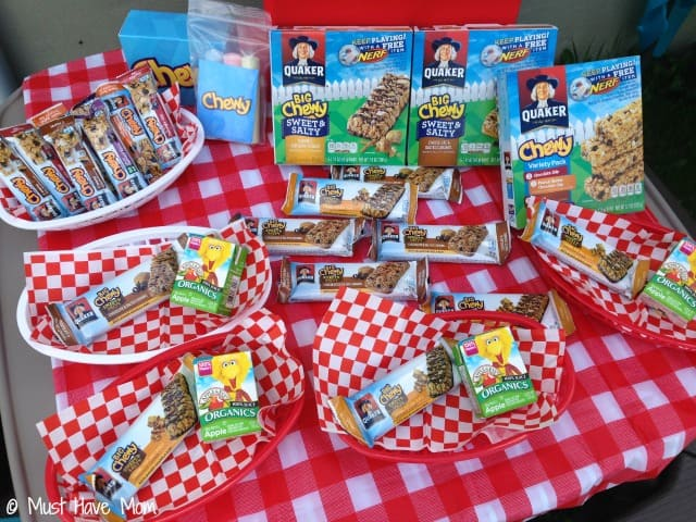 Playdate refueling station stocked with easy grab snacks