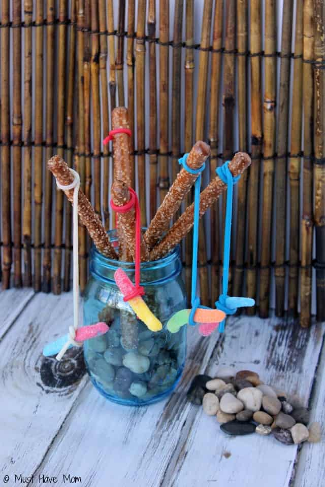 Pretzel fishing rods party food idea for Rods fish food