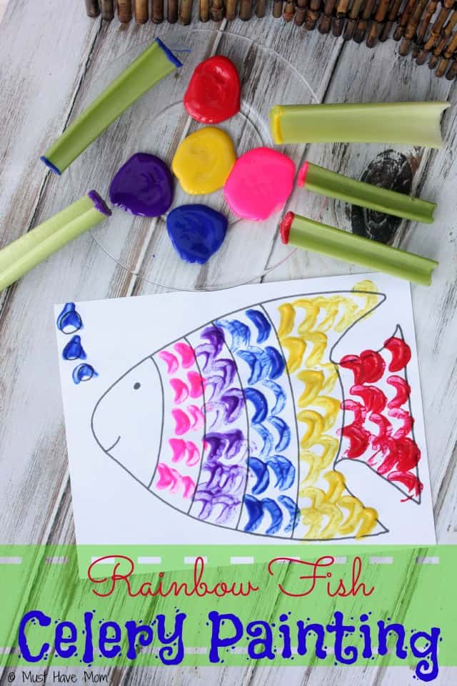 Rainbow Fish Celery Painting Activity includes free printable rainbow fish too!