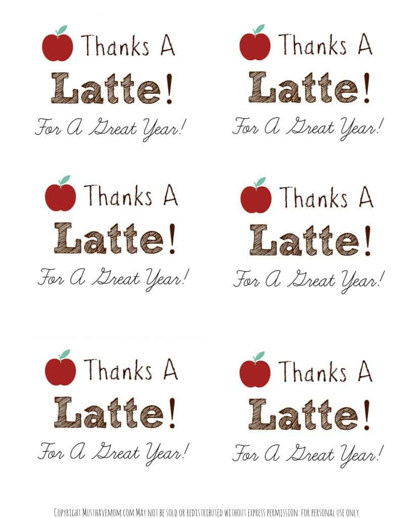 graphic about Thanks a Latte Printable Tag referred to as Do-it-yourself Tailored Trainer Mug + \