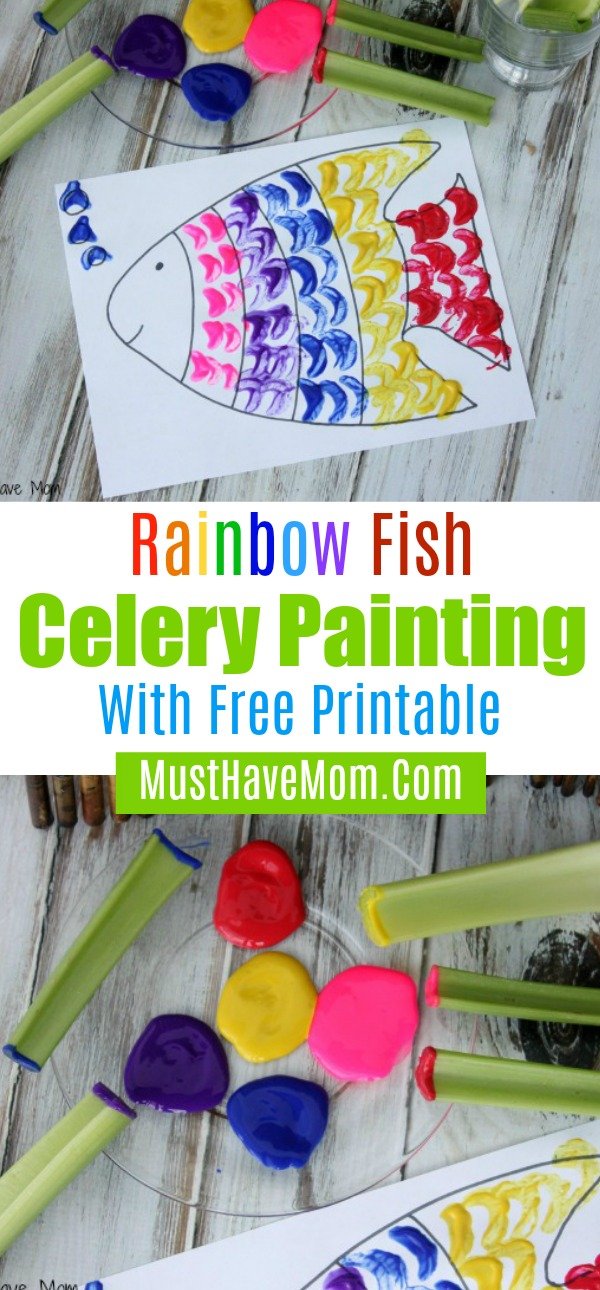 rainbow fish celery painting