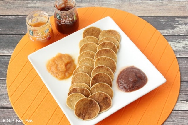 Rice Cereal Pancakes with baby food and baby cereal as an ingredient. Use baby food as a topping. Great way to use up baby rice cereal and baby food once baby moves to finger foods!