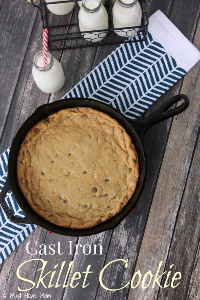 Cast Iron Skillet Cookie Recipe! Giant chocolate chip cookie made in a skillet. Better than any restaurant dessert!