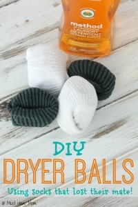 DIY Dryer Balls Idea! Love that these dryer balls are made with socks that lost their mates! Finally a use for those lone socks! Plus you can add essential oils to the dryer balls to make them smell good too!