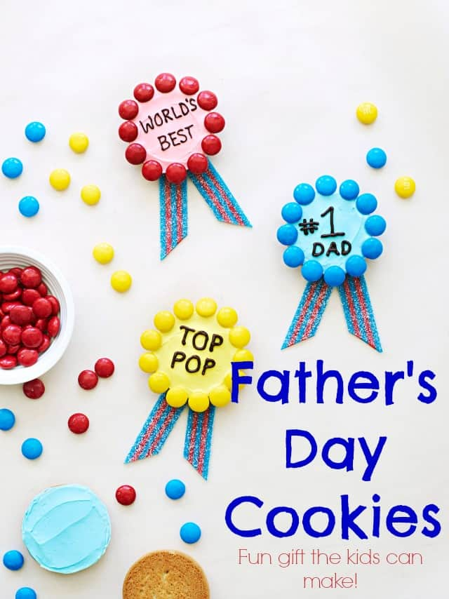Father's Day Cookies the kids can make! Easy cookies that use pre-made ingredients so kids can easily assemble a DIY Father's Day gift!