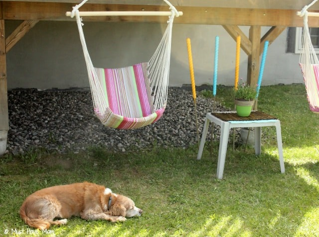 DIY Outdoor Oasis on a budget! Great suggestions for a very inexpensive outdoor relaxation area!