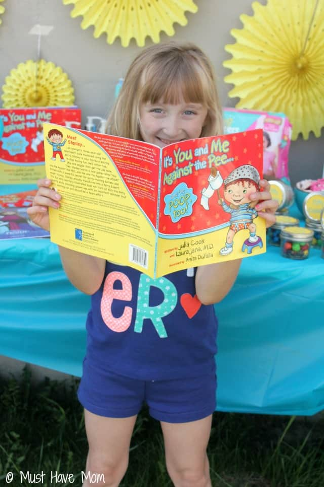 Read a potty training book at your potty training party