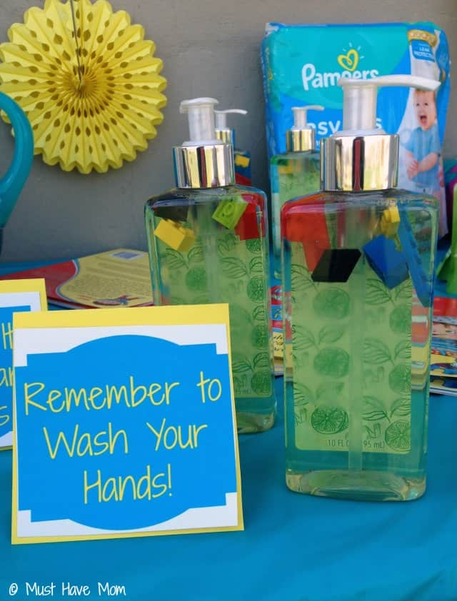 Remember to Wash Your Hands Lego Soap for a Potty Training Party!