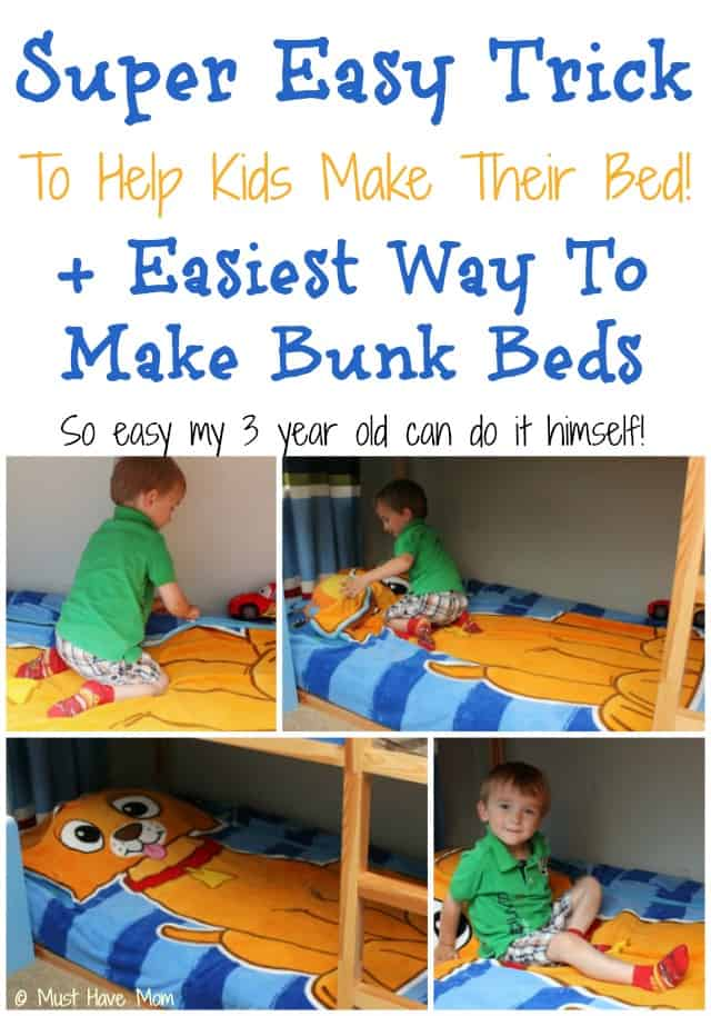 Super Easy Trick To Help Kids Make Their Bed + Easiest Way To Make Bunk Beds! So Easy My 3 Year Old Can Do It Himself!