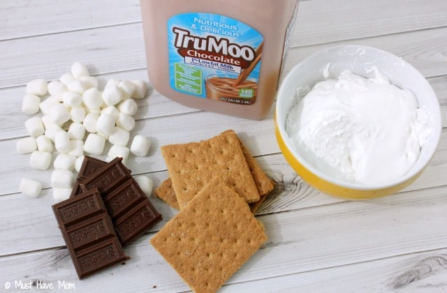 Delicious Smores Smoothie Recipe. Tastes like a frozen hot chocolate but Smores flavor! Perfect cool treat for Summer.