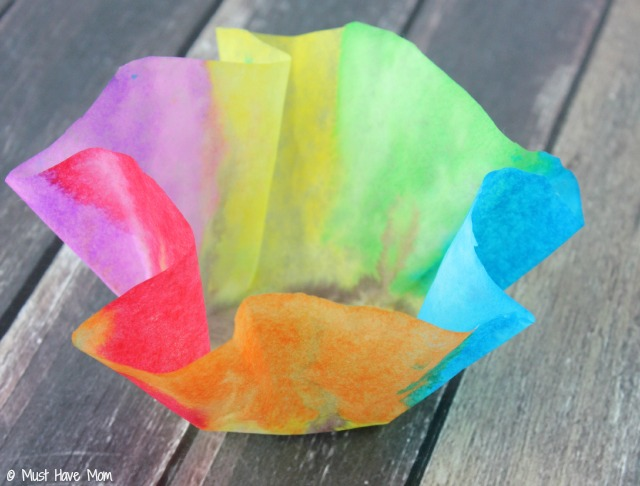 Craft Ideas For Kids With Paper Step By Step Part - 47: Easy 3 Step DIY Paper Bowls Kids Craft Idea! Just Use Coffee Filters,  Watercolor