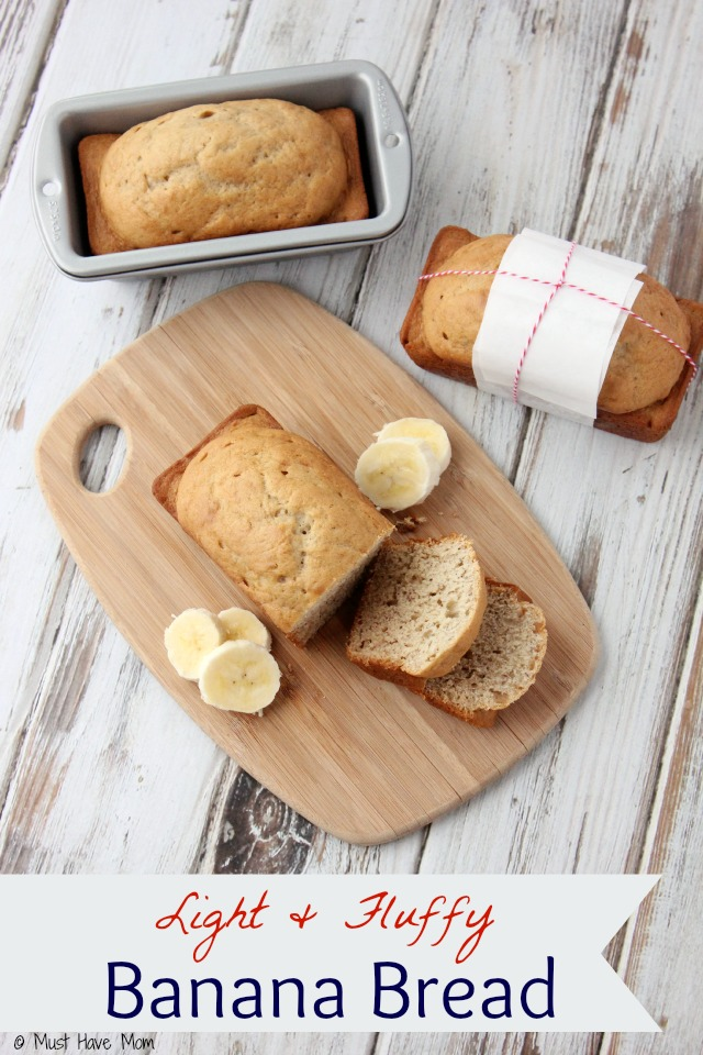 Light and Fluffy Banana Bread Recipe. Made just like Grandma's. Not a dense recipe like most banana bread recipes