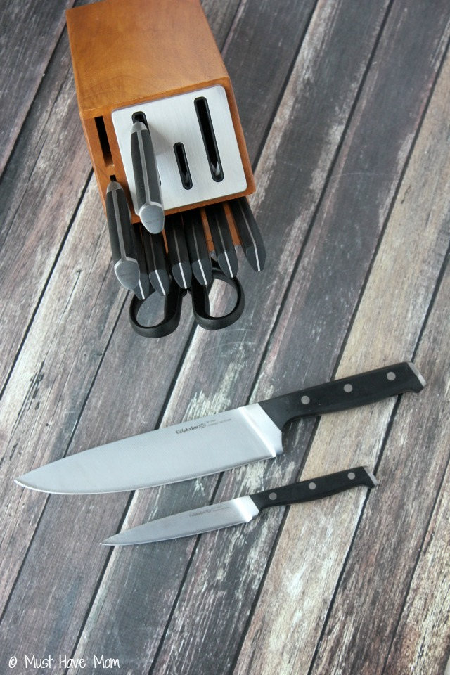 Calphalon SharpIn cutlery set. Knives sharpen each time you remove them from the butcher block!