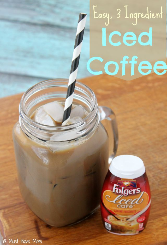 Easy 3 ingredient iced coffee recipe. Easiest iced coffee recipe I've made!