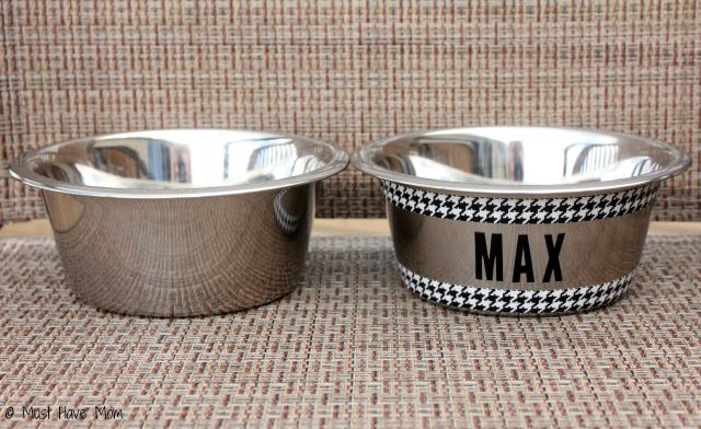 5 Minute DIY Personalized Dog Bowl. Such an easy, inexpensive way to makeover my dog's plain dishes!
