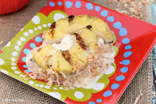 Tropical Ice Cream Sandwich Recipe. Grilled pineapple slices with natural vanilla ice cream and toasted coconut!