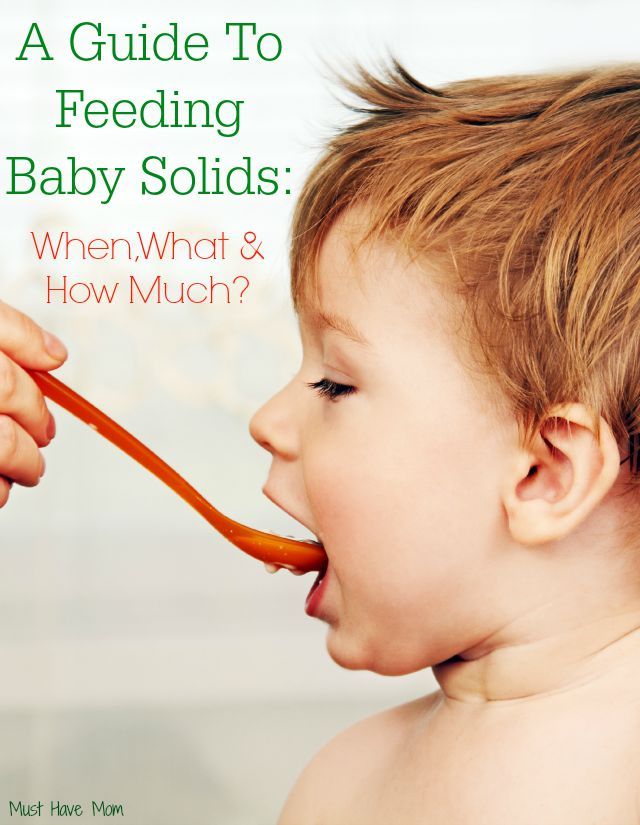 A Guide To Feeding Baby Solids When, What & How Much baby food your baby needs.
