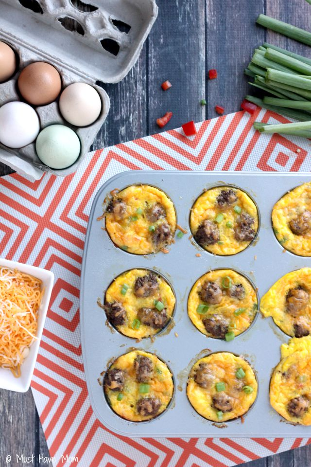 Easy Mini Sausage Egg & Veggie Omelettes Recipe. Quick on the go breakfast that is easy and doubles as a freezer breakfast recipe. Homemade convenience food! These taste amazing!