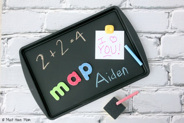 DIY Magnetic Chalkboard Activity Tray. Quick and easy project that is perfect for a travel activity in the car or for sick days on the couch. Great quiet time activity.