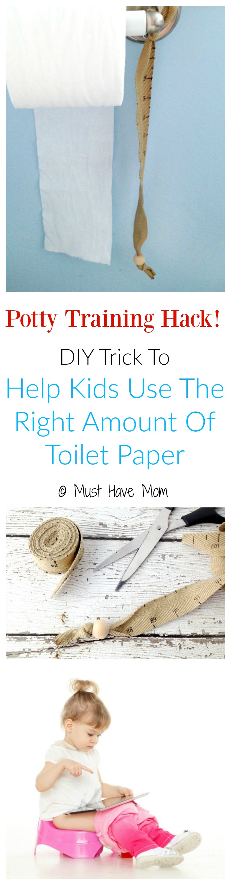 Potty Training Hack! DIY Trick to help kids use the right amount of toilet paper! No more flooding the toilet or wasting all your toilet paper!