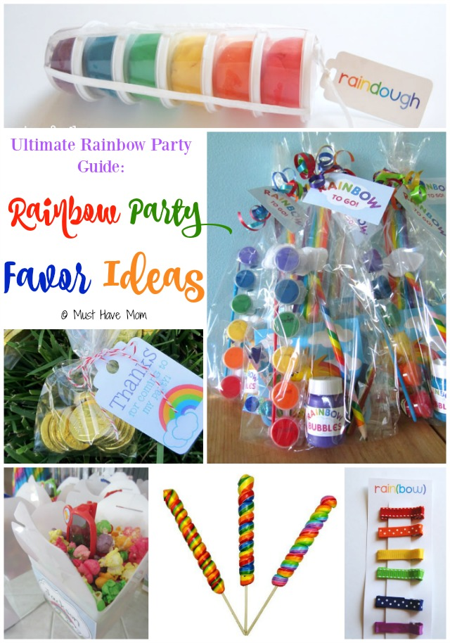 Ultimate Rainbow Party Guide Rainbow Party Favor Ideas. This guide has rainbow party food ideas, deocr, favors and more! These are cute party favors!