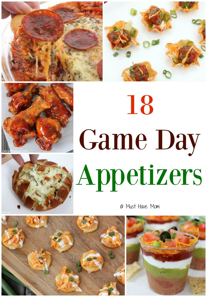 18 Game Day Appetizers. Super Bowl Appetizers, Football game day party appetizer ideas. Great recipes for game day!