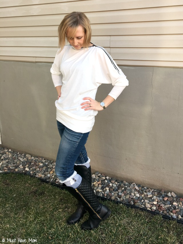 Mommy chic fashion idea! Payless black quilted boots