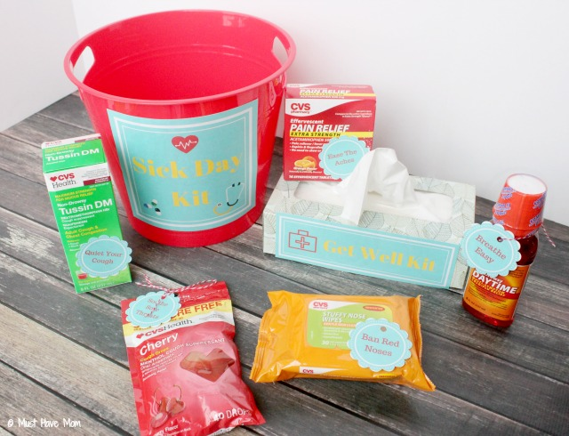 Sick Day Kit Free Printables! Make your own family sick day kit so you have everything you need on hand to get well fast! Great gift idea for sick friend too!